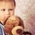 kicsi · baba · plüssmaci · boldog · szemek · haj - stock fotó © jirkaejc