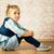 gyönyörű · kislány · ül · padló · szemek · haj - stock fotó © jirkaejc