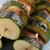 鮭 · ズッキーニ · 背景 · プレート · 白 · 料理 - ストックフォト © joannawnuk