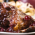 delicious scrambled grilled meat with cranberry sauce stock photo © joannawnuk
