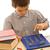 chłopca · praca · domowa · Kalkulator · obok · odizolowany · biały - zdjęcia stock © joseph73