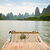 bambusz · vadvizi · evezés · folyó · Kína · tájkép · hegy - stock fotó © juhku
