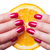kéz · körmök · érintés · narancs · fehér · festett - stock fotó © juniart