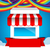shop and red ribbon banner on rainbow clound and sky background stock photo © kaikoro_kgd