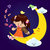 cute girl play music with moon at night stock photo © kaikoro_kgd