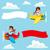 aereo · cartoon · banner · illustrazione · divertente · blu - foto d'archivio © kakigori