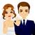 jóvenes · feliz · recién · casados · novia · novio · vector - foto stock © kakigori