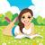 lány · olvas · könyv · zöld · illusztráció · gyermek - stock fotó © kakigori