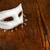 blanche · masque · table · en · bois · rustique · carnaval - photo stock © kalozzolak