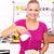 feliz · mujer · comer · cereales · desayuno · cocina - foto stock © kalozzolak