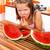 lány · eszik · görögdinnye · lédús · fű · boldog - stock fotó © kalozzolak