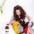 compras · dia · menina · sofá · olhando · novo - foto stock © kalozzolak