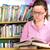 egyetemi · hallgató · kiválaszt · könyv · könyvtár · női · boldog - stock fotó © karammiri
