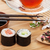 sushi maki set herbal tea and sakura branch stock photo © karandaev