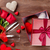valentines day gift box roses and champagne glasses stock photo © karandaev