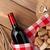 vörösbor · üveg · dugóhúzó · fa · asztal · felső · kilátás - stock fotó © karandaev