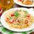 placa · frescos · espaguetis · tomates · pesto · grasa - foto stock © karandaev