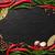 peperkorrel · knoflook · bladeren · zwarte · steen - stockfoto © karandaev
