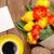 colorful tulips greeting card and coffee stock photo © karandaev
