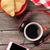 свежие · круассан · кофе · фон · золото · белый - Сток-фото © karandaev