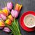 fresh colorful tulip flowers and coffee stock photo © karandaev