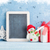 christmas chalkboard snowman and gift box stock photo © karandaev