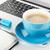 kék · kávéscsésze · irodaszerek · felülnézet · közelkép · fehér - stock fotó © karandaev