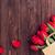 rojo · tulipanes · ramo · bolsa · madera - foto stock © karandaev