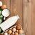 leite · ovos · mesa · de · madeira · topo · ver - foto stock © karandaev