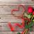 rosas · rojas · caja · de · regalo · forma · de · corazón · cinta · madera · mesa · de · madera - foto stock © karandaev