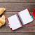 fresco · croissants · café · bloco · de · notas · croissant · mesa · de · madeira - foto stock © karandaev