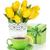 Yellow tulips, tea cup and gift box stock photo © karandaev