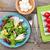 fresh healthy salad tomatoes mozzarella on wooden table stock photo © karandaev