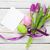 purple tulip bouquet easter eggs and blank greeting card stock photo © karandaev