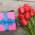 fresh tulips and gift box stock photo © karandaev