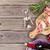 prosciutto and mozzarella with red wine stock photo © karandaev