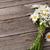 kamille · boeket · jar · rustiek · houten · tafel · blad - stockfoto © karandaev