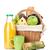 picnic basket with bread fruits and orange juice bottle stock photo © karandaev