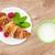 fresco · francês · croissant · tabela · mesa · de · madeira · comida - foto stock © karandaev