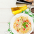 spaghetti pasta with tomatoes and basil stock photo © karandaev