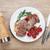 vesepecsenye · steak · rozmaring · koktélparadicsom · tányér · bor - stock fotó © karandaev