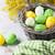 húsvét · tojások · fa · asztal · fűzfa · zöld · kosár - stock fotó © karandaev
