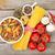 macarrão · tomates · cogumelos · temperos · mesa · de · madeira · folha - foto stock © karandaev