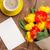 тюльпаны · букет · чашку · кофе · деревянный · стол · бумаги - Сток-фото © karandaev