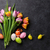 colorful easter eggs and tulips stock photo © karandaev