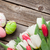 ovos · de · páscoa · rosa · tulipas · buquê · prateleira - foto stock © karandaev