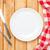 空っぽ · プレート · 銀食器 · 白 · 木製のテーブル - ストックフォト © karandaev
