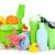 strand · baby · speelgoed · handdoeken · flessen · geïsoleerd · witte - stockfoto © karandaev