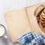 fresh croissants milk and old book stock photo © karandaev