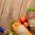 dos · ensalada · vino · blanco · mesa · de · madera · superior - foto stock © karandaev